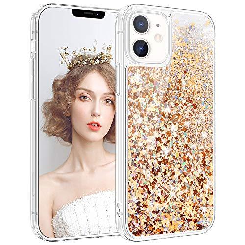 wlooo Hülle Glitzer für iPhone 12, Handyhülle iPhone 12 Pro Glitzer, Glitter Flüssig Mädchen Frauen Treibsand Weich TPU Bumper Silikon Schutzhülle Case Cover (Gold Silber)