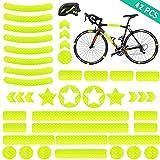 YIKEF Pegatinas Reflectantes, 42 Piezas de Reflectores Adhesivos Reflector Stickers, Visibilidad de Noche, para Cascos, Bicicletas, Cochecitos, Sillas de Ruedas y Más (Amarillo)