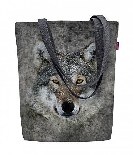 Arso Shopper Sunny Lupo Stofftasche Damen Tasche mit Motiv Wolf Porträt Stoff Kodura Einkaufstasche wasserdicht