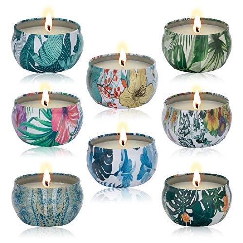 Tompig Velas de Aromaterapia, 8 Piezas Regalo de Velas Perfumadas, 100% Cera de Soja Natural, Decoración para Relajación Fiesta Boda Baño Yoga Cumpleaños Navidad Día de San Valentín Regalos