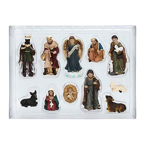 Fuyamp Weihnachtskrippe Geburt Jesus Christus Individuelle bewegliche Figuren Set Weihnachtskrippe Deko Krippenfiguren set für traditionelle Weihnachtskrippe
