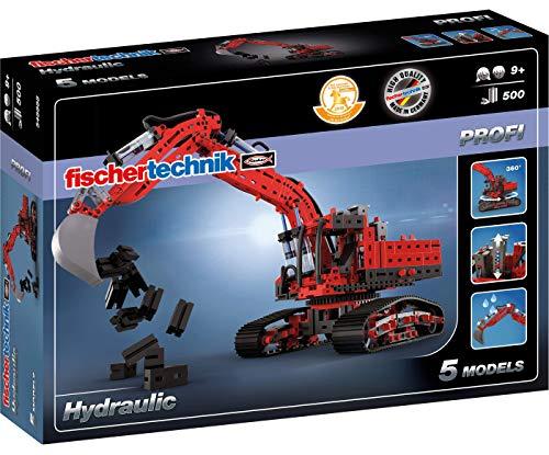 fischertechnik Hydraulik Spielzeug Bagger für Kinder mit realitätsnaher Hydraulik-Funktion und Baggerschaufel - 5 Modelle - Schauffelbagger, Pistenraupe & Versuchsmodelle, Konstruktionsspielzeug