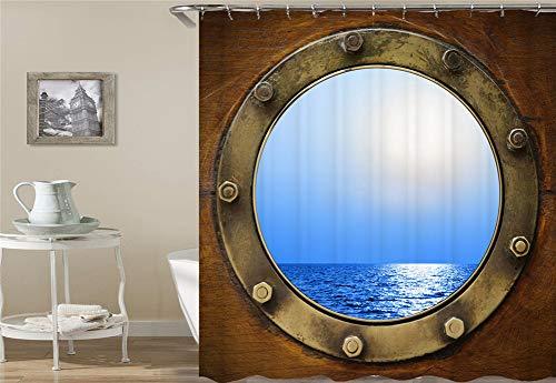 ZZZdz blik op de blauwe zee voor het raam. Waterdicht. Eenvoudig over te dragen. 12 vrije haken. 3D-HD-druk. verbleekt niet. Douchegordijn 180 x 180 cm.
