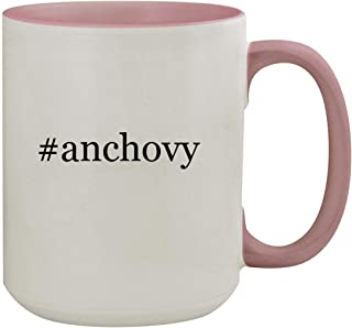 #anchovy - 15oz Hashtag Colored Inner & Handle Ceramic Coffee Mug, Pink