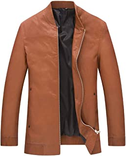 YXHM A Men's Leather Jacket Casual Baseball Collar Leather Jacket Solid Color pu Leather Jacket Stand Collar Leather Jacket (Color : Khaki, Size : 190)