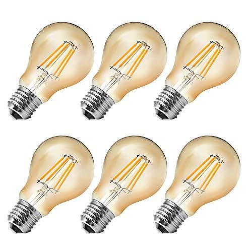 MENTA Vintage Edison Glühbirne E27 4W LED Retro Lampe Soft Spiral Filament Dekorative Glühbirne Ersetzt 40W 400LM Warmweiss 2700K 220-240V A60 Filament Fadenlampe Nicht Dimmbar - 6 Stück