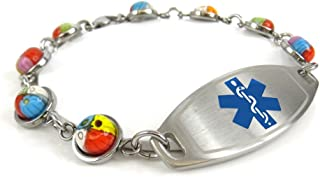 My Identity Doctor Red Millefiori Glass Customized Pre-Engraved /& Customized Morphine Allergy Alert Bracelet Red