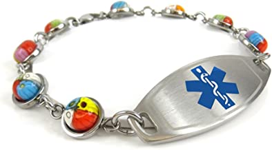 My Identity Doctor Womens Medical Alert Bracelet with Engraving - 1cm Steel & Glass
