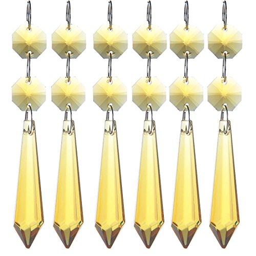 H&D hanger, hanger, sierkristallen voor kroonluchter in ijspegel-design, kroonluchter en lamp, prismavormig, 55 mm, verpakking van 10 stuks