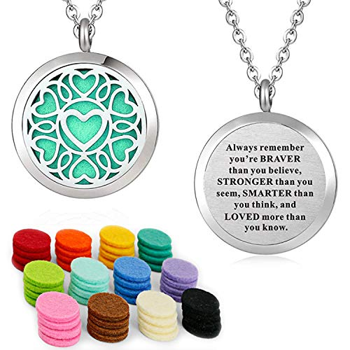 Essential Oil Necklace Diffuser Family Tree of Life Necklace Pendant Aromatherapy Locket 49 Refill Pads (SSS oil locket)