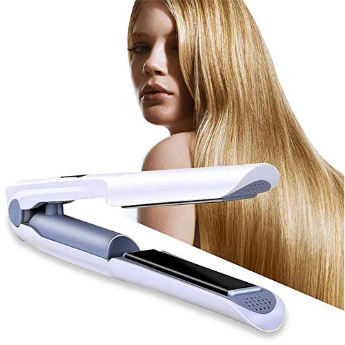Mini Cordless Hair Straightener, USB Rechargeable Ceramic Portable Flat Iron with Adjustable Temperature & Auto Shut Off,White
