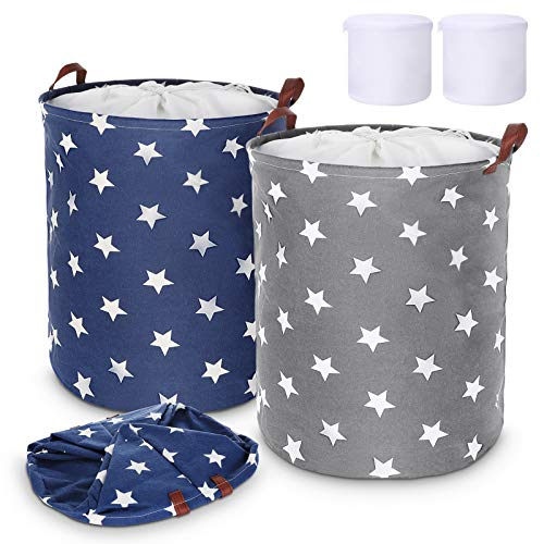 Laundry Baskets, Magicfun 2PCS Waterproof Laundry Hamper, 62.8L Large Washing Baskets Collapsible with Lid for Bedroom Bathroom (Star, L)