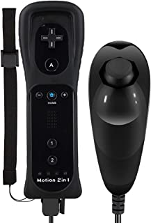 Maliralt Wii Motion Plus Controller, LP01 Wireless Wii Remote Controller and Nunchuck Joystick with Build-in Motion Plus Silicone Case and Wrist Strap for Nintendo Wii/Wii U -Black(Third-Party Made)