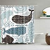 JOOCAR Design Duschvorhang, abstrakte Wale schwarz blau kreatives Muster, wasserdichter Stoff Stoff Badezimmer Dekor Set mit Haken