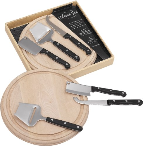 Esmeyer Gourmet - Set per Preparazione/Servizio Formaggio Gourmet da 4 Pezzi, incl. Tagliere in Legno in Scatola Regalo con Finestra