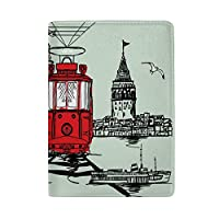 パスポートカバー スキミング防止 本革 パスポートケース 出張 旅行 カードパッケージ 旅行便利グッズ 多機能 旅券ケース イスタンブールトラムグラフィックデザイン 男女兼用