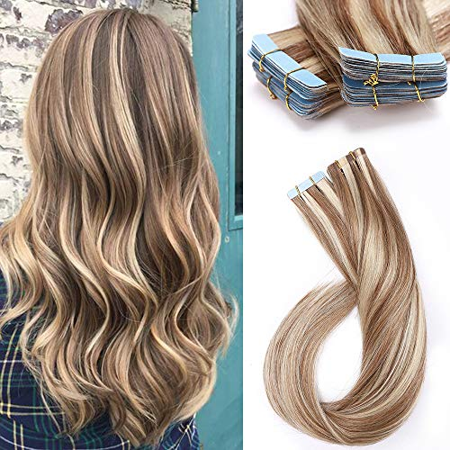 55cm - Extensiones Adhesivas de Pelo Natural 50g Tape in Hair Extensions...