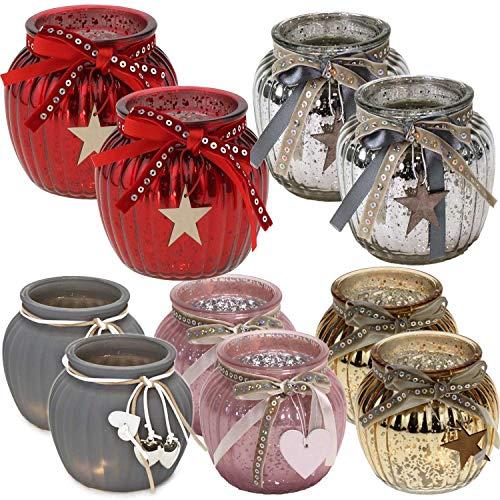 LS-Design 2x Glas Windlicht Rot Holz-Stern Kugel Teelichthalter Kerzenständer Kerzenhalter Shabby