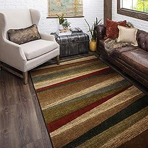 Mohawk Home Mayan Sunset Sierra Stripe Area Rug, 5'x8′, Tan