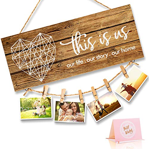 Home Decor New Home Gifts -This Is Us- Home Sign for Rustic Farmhouse Wall Living Room with Clips...