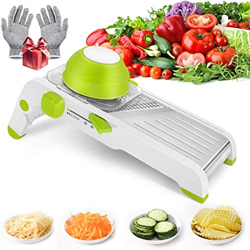 Reesibi Mandoline Slicer Professional, Vegetable Cutter Spiralizer Multifunctional Stainless Steel Adjustable Mandolin Food Chopper Potato Onion Waffle French Fries Julienne Slicer Kitchen Gadget