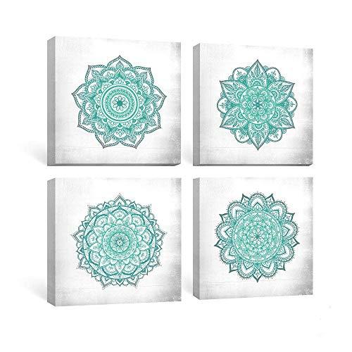 SUMGAR Mandala para decoración de Pared, Color Verde Azulado, para Dormitorio, 30 x 30 cm, 4 Unidades