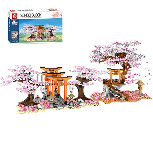 OATop Sakura Baum Bausteine Architektur Modell, 1814+Pcs Kirschblüte Gebäude Modellbausatz für Kinder und Erwachsener Kompatibel mit Lego