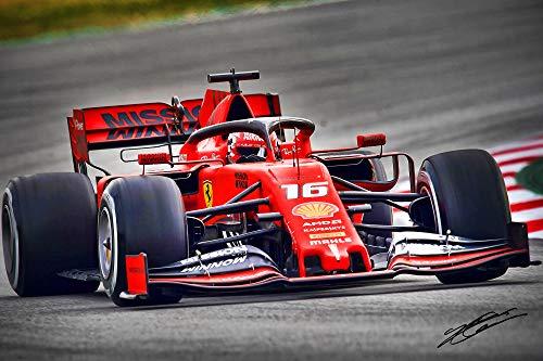 XOTIKS Ferrari F1 Formula 1 Racing with Pre-Printed Charles Leclerc Autograph - Premium High Gloss Art Print Poster. (780P) (24�x36�)
