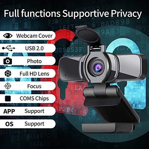Dericam 1080P Webcam mit Mikrofon, USB Computer Webkamera, Plug Mit Play Desktop und Laptop-Webcam für Windows Mac OS, für Videoanrufe, Streaming, Konferenz, Spiele, Online Unterricht