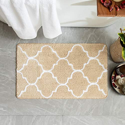 MIULEE Badematte Mikrofaser rutschfest Badteppiche Dekorativ Teppich Marokko Absorbent Badvorleger Badzimmermatte Saugfähig Weich Duschmatte Fußmatte Badezimmer Wohnzimmer Beige 40x60cm