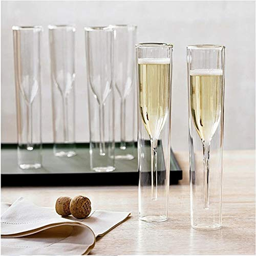 NUCA Champagne Glass Double Wall Glasses Flutes Goblet Bubble Wine Tulip Cocktail Wedding Party Cup Toast Bodum Thule Xicaras Copo