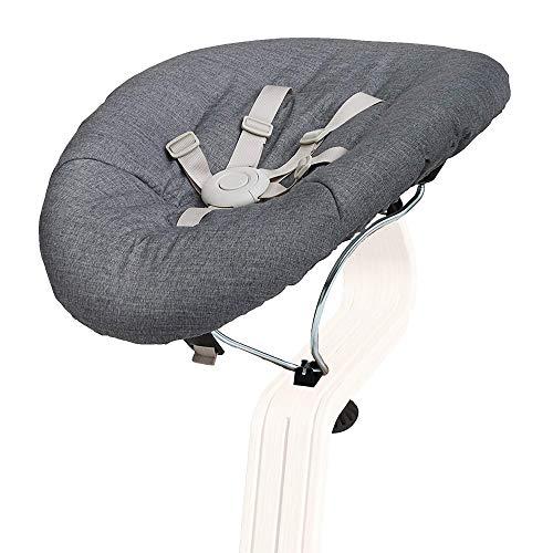 Nomi Baby - Cojín para bebé, color negro con gris, accesorio para silla alta Nomi, se ajusta sin problemas de posición plana a más vertical, asiento para silla de bebé eleva a la altura de la mesa