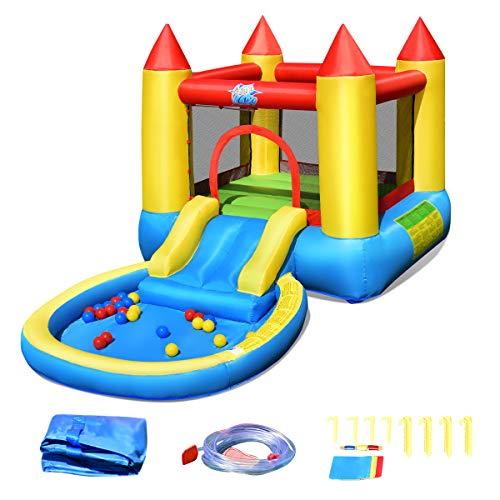 COSTWAY Hüpfburg mit Rutsche, Springburg mit 30 Bällen, Hüpfschloss mit Rutsche, Spielburg für Kinder Ballbecken, Aufblasbarer Wasserpark für Kinder 365 x 200 x 190 cm
