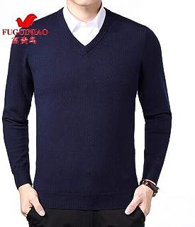 富贵鸟 羊毛衫男冬季V领针织毛线衣中老年商务休闲爸爸装打底衫