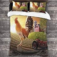 ROSECNY 布団カバー シングル3点セット,オンドリの動物の早い鳥の自然と昇る太陽と農場の納屋の庭の画像,枕カバー 掛け布団カバーあったか おしゃれ かわいい柔らかい肌に優しい