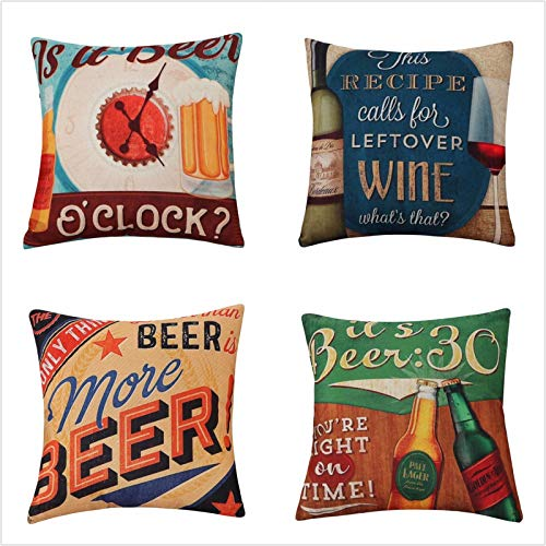 Cushion Covers Pack of 4 Beer wine letters Linen Cotton Throw Pillow Cases Art Sofa Decorative Square Cushion Cover for Couch Bed Car Pillowcases