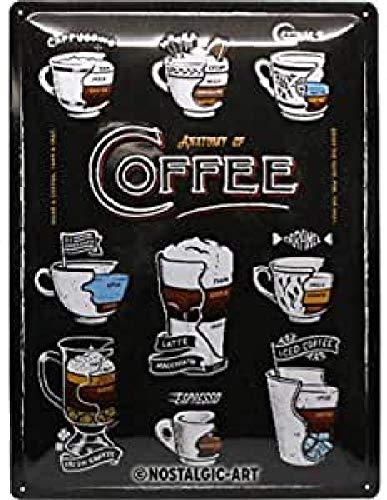Nostalgic-Art Cartel de chapa retro Anatomy of Coffee – Idea de regalo para los amantes del café, metálico, Diseño vintage para decoración, 30 x 40 cm