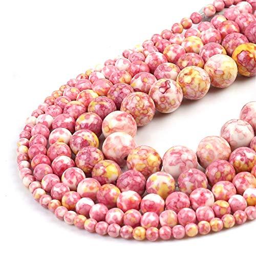 HUKGD Rosa Amarillo Colorido Lluvia Jaspe con Cuentas Redondas Perlas De Piedra Sueltas Naturales para JoyeríA De Bricolaje Haciendo Brujo 4/6/8/10/12 mm Pulsera 15 Pulgadas Other 8mm 46pcs Beads