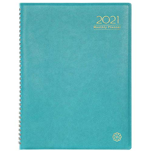 2021 Monthly Diary/Calendar - Monthly Diary with Tabs, Leather Calendar Diary, Twin-Wire Binding and Double Side Clear Inner Pocket 9'x 11'