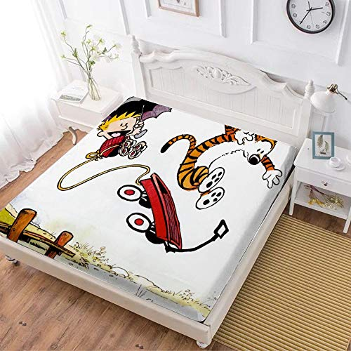 Peanuts Fitted Sheet,Calvin Hobbes (12),Soft Wrinkle Resistant Microfiber Bedding Set,with All-Round Elastic Deep Pocket, Bed Cover for Kids & Adults,twin (47x80 inch)