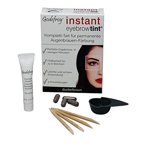 Godefroy Neu Augenbrauenfarbe Färbeset Instant Eyebrow Tint, dunkelbraun, 1er Pack (1 x 4 Stück)