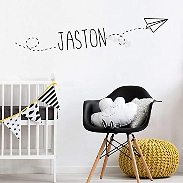 SIZ70KL Flying Paper Airplane Wall Sticker Personalized Custom Name Decal Decor Home Child S Bedroom Nursery Baby Playroom Mural EB471H616 King Blue 10cm Tall