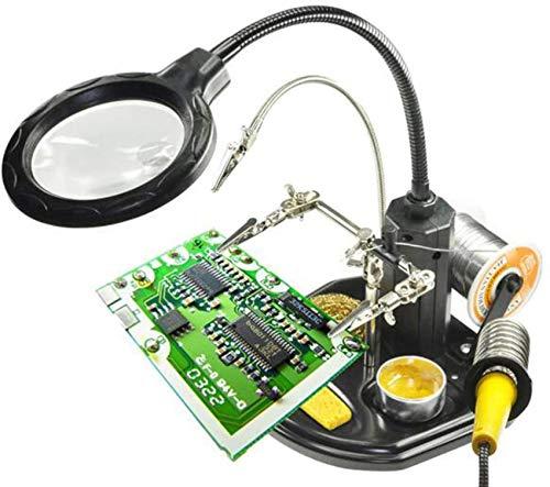 HZWLF Estación de Lupa de Manos Que ayudan con luz LED - 2.5X 4X Soporte de Lupa de Manos Libres Iluminado con Abrazadera y Pinzas de cocodrilo - para soldar, ensamblar, Reparar, modelar