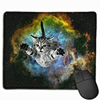 Galaxy Cat Universe Non-Slip Gaming Mouse Pad Mouse Mat with Stitched Edges ,18x22cm