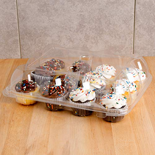 5 Cupcake Containers Plastic Disposable | High Dome Cupcake Boxes 12 Compartment Cupcake Holders Disposable Cupcake Carrier | Dozen Cupcake Trays | Durable Cup Cake Muffin Packaging Transporter