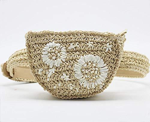 Bolsos De Paja Flower Straw Waist Pack Hombres Mujeres Pueden Equiparse con Las Teclas del Teléfono Móvil Monedero Hierba Bolso De Mujer Bolso Borsetta Portmonetka A