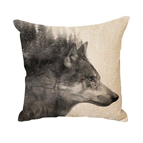 Funda de cojín decorativa para sofá, funda de cojín de coche, fundas de almohada de diseño creativo, diseño de lobos grises, 50 x 50 cm