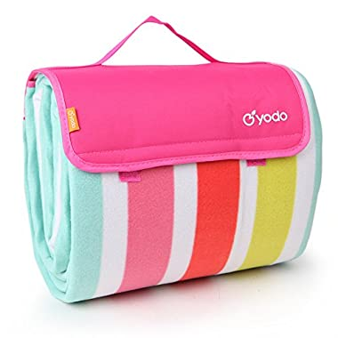 yodo Extra Large Outdoor Waterproof Picnic Blanket Tote 79  x 79 ,Spring Summer Rose Stripe