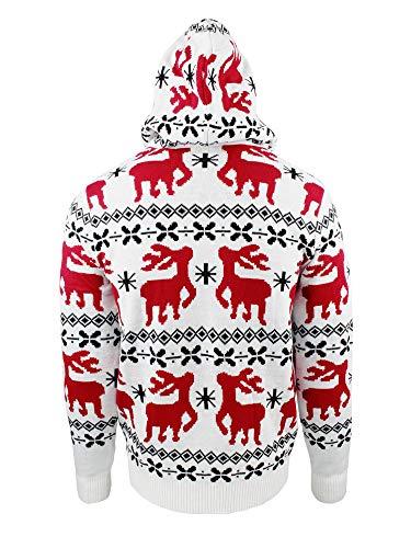 JAP Weihnachtspullover mit Kapuze - Rentier Motiven - Perfekte Passform ohne Jucken - 542-S