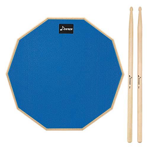 Donner Pad per Allenamento da 12 inch Drum Pad pratica con bacchette in acero Blu